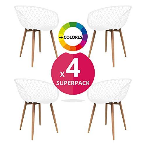 Stuhl STUHL Bettbezug (Pack 4)-Stuhl Scandi Nordic Skandinavien inspiriert Sessel Eames-Saga-(wählen Sie Ihre Farbe) weiß
