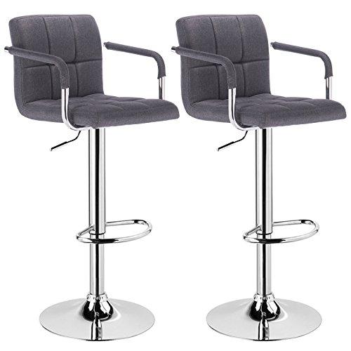 WOLTU® 2 x Barhocker mit Armlehne , stufenlose Höhenverstellung , verchromter Stahl , Antirutschgummi, gut gepolsterte Sitzfläche aus Leinen, Dunkelgrau BH59dgr-2