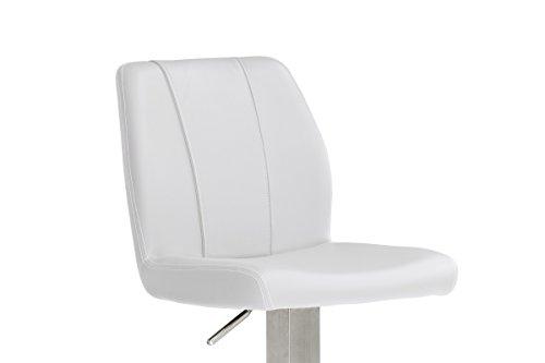 Robas Lund, Stuhl, Barstuhl, Barhocker, Na.omi, 360 Grad drehbar, Edelstahl/weiß, 51 x 42 x 112 cm, NARE10WX