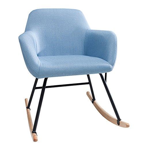 Moderner Schaukelstuhl BALTIC hellblau Schaukelsessel Scandinavian Design Sessel Stuhl Wohnzimmersessel