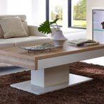 Design Couchtisch mit Schiebefunktion 125 x 45 x 75 - Weiß Mattlack / Sonoma Eiche Nachbildung