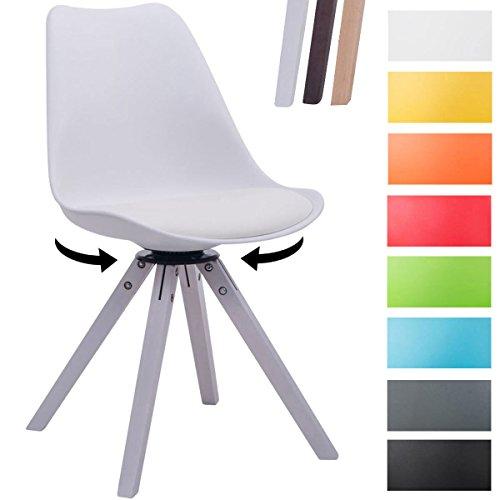 CLP Design Retro-Stuhl TROYES SQUARE mit Kunstlederbezug und hochwertiger Polsterung | 360° drehbarer Stuhl mit Schalensitz und massiven Holzbeinen | In verschiedenen Farben erhältlich Weiß, Holzgestell Farbe weiß, Bein-Form eckig