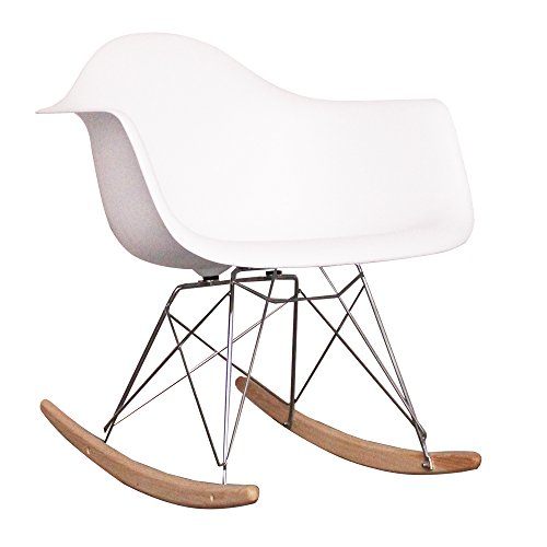 Kinder-Schaukelstuhl, von skandinavischem Design inspirierter Retro-Look weiß