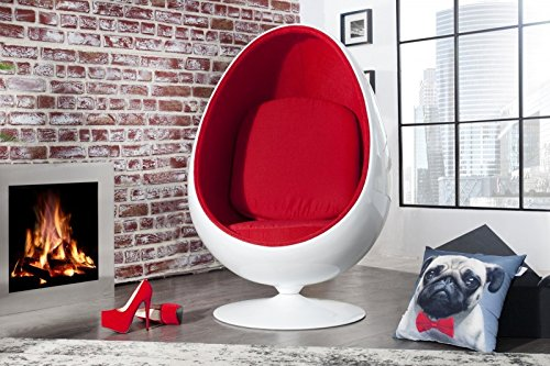 Casa Padrino Designer Egg Chair Sessel Weiß/Rot - Lounge Club Sessel