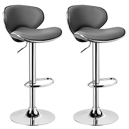 WOLTU BH19gr-2 2x Hocker Barhocker, stufenlose Höenverstellung, verchromter Stahl, pflegeleichter Kunstleder, gut gepolsterte Sitzflähe, Antirutschgummi, Grau