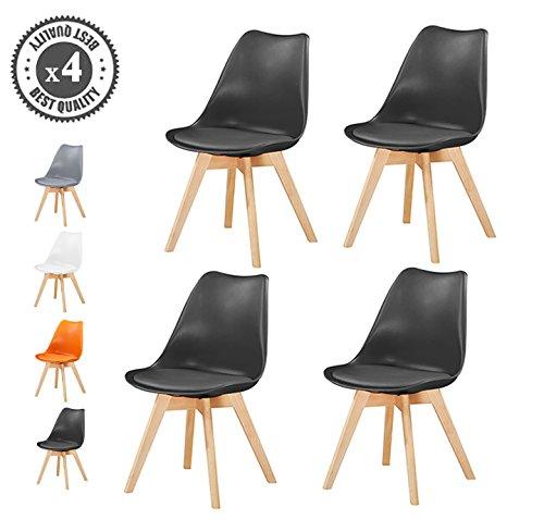 MCC Retro Esszimmerstühle gepolstert, Design Stuhl, Küche, Lounge, 4er Set EVA (Schwarz)