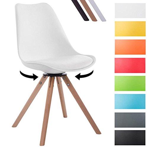 CLP Design Retro-Stuhl TROYES RUND mit Kunstlederbezug und hochwertiger Sitzfäche | 360° drehbarer Stuhl mit Schalensitz und massiven Holzbeinen | In verschiedenen Farben erhältlich Weiß, Holzgestell Farbe natura, Form rund