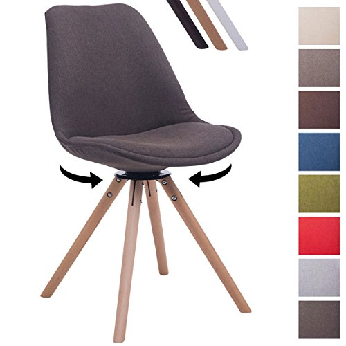 CLP Design Retro-Stuhl TROYES RUND mit Stoffbezug und hochwertiger Polsterung | Drehbarer Stuhl mit Schalensitz und massiven Holzbeinen | In verschiedenen Farben erhältlich Dunkelgrau, Holzgestell Farbe natura, Bein-Form rund