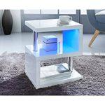 Alaska modernes Design weiß Hochglanz/Couchtisch Beistelltisch Blau LED Lichter für Home