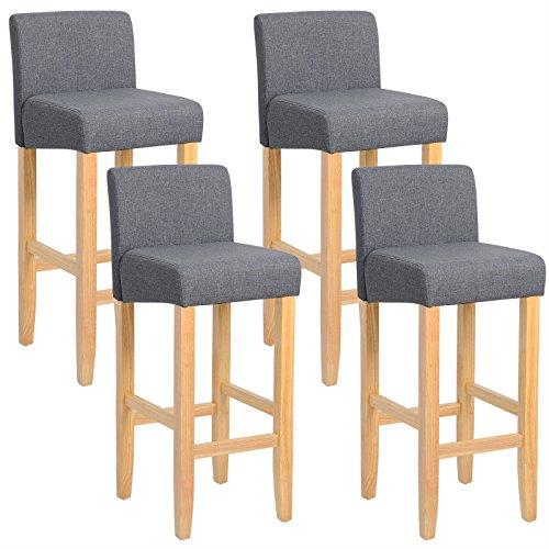 WOLTU BH02dgr-4 Barhocker Bistrostuhl Holz Leinen Bistrohocker mit Rückenlehne, 4er Set, helle Beine aus Massivholz, Antirutschgummi, dick gepolsterte Sitzfläche aus Leinen, Dunkelgrau