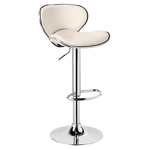 WOLTU 1 x Barhocker Barstuhl Tresenhocker Stuhl drehbar und höhenverstellbar Tresen Hocker Kunstleder Creme BH19cm-1