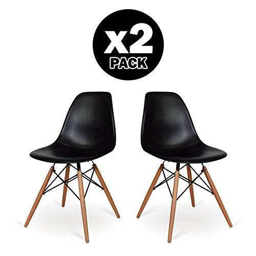 Pack 2Stühle DSW Stil Schwarz–Inspiration Charles & Ray Eames–48cm x 55cm x 83.5cm–Santani MOBILI