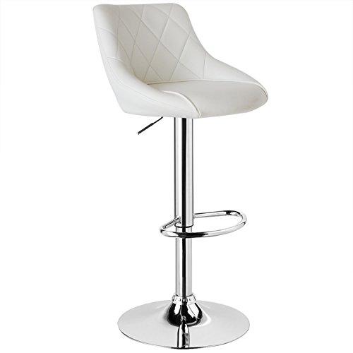 Barhocker mit Lehne, stufenlose Höhenverstellung, verchromter Stahl, pflegeleichter Kunstleder, gut gepolsterte Sitzfläche, 11 Farbe (Weiß)