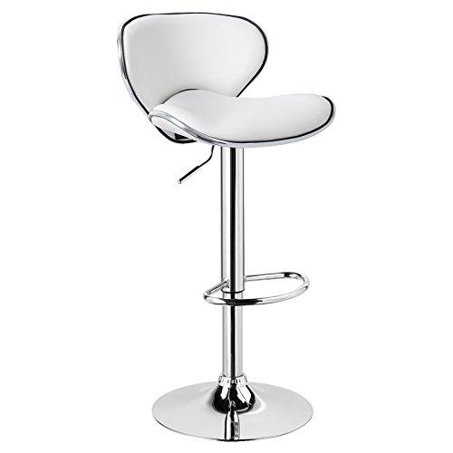 WOLTU 1 x Barhocker Barstuhl Tresenhocker Stuhl drehbar und höhenverstellbar Tresen Hocker Kunstleder Weiss BH19ws-1