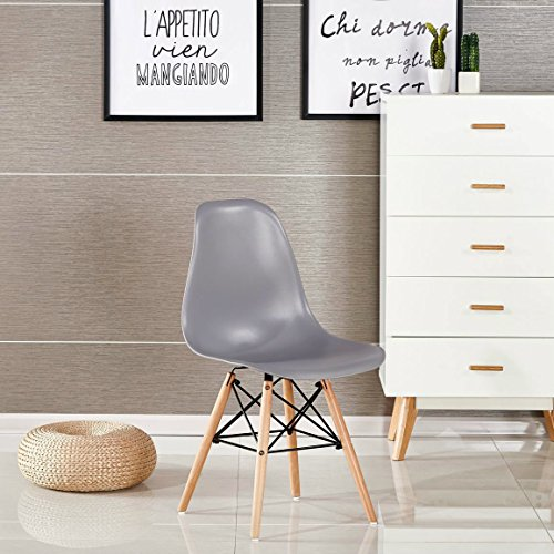 P & N Homewares® Moda Stuhl Kunststoff Retro Esstisch Stühlen Moderne Möbel, grau, 1 Stuhl