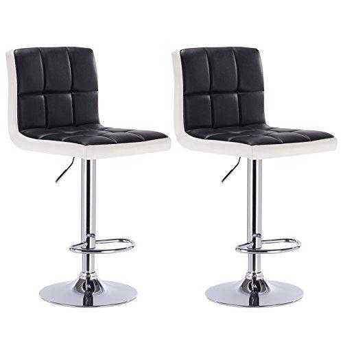 WOLTU® BH40szw-2 2 x Barhocker Tresen Stuhl Drehhocker Kunstleder Lounge 2 farbig Schwarz+Weiss