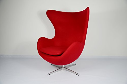 Sessel EGG CHAIR. Reproduktion Arne Jacobsen. Stoff rot
