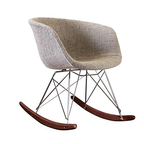 Style Interior Furniture Stil Innen Möbel Scandi Stil Schaukelstuhl Retro Kunststoff Badewanne Sitz mit Große Auswahl von Farben und Natur oder Walnuss Holz-Finish Grey Fabric