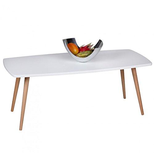 Wohnling Design Couchtisch Scanio Wohnzimmertisch matt, Kaffeetisch im skandinavischen Retro-Look, Tisch mit Echtholzbeinen, Loungetisch Wohnzimmer rechteckig, 110 x 50 x 42 cm, weiß