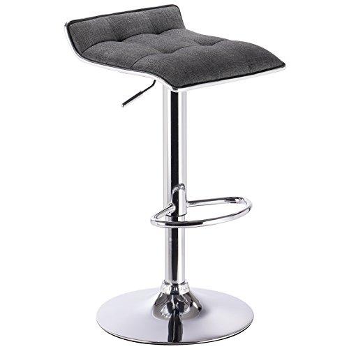 WOLTU BH33dgr-1 Design Hocker Barhocker , stufenlose Höhenverstellung , verchromter Stahl , Antirutschgummi , Leinen , gut gepolsterte Sitzfläche , Dunkelgrau