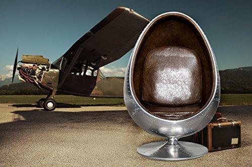 Casa Padrino Vintage Aluminium Egg Chair Sessel Braun - Air Wing Flugzeug Vintage Sessel
