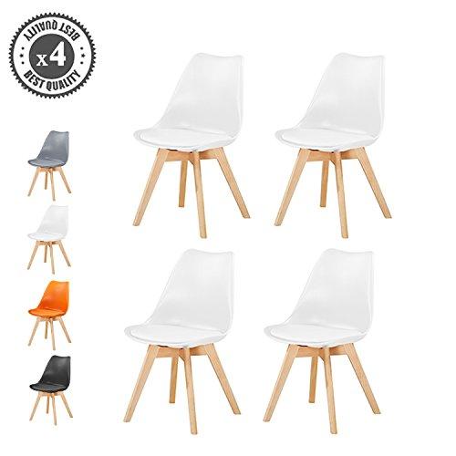 Retro Esszimmerstühle gepolstert, Design Stuhl, Küche, Lounge, 4er Set EVA (Weiß)