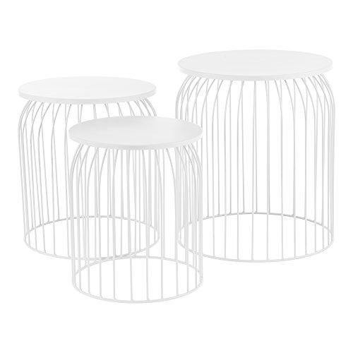 [en.casa] Stylischer Metallkorb im 3er Set - Design Beistelltisch / Couchtisch weiß Metall