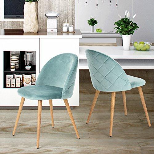 coavas Dining Stühle Soft Sitz und Rücken Samt Wohnzimmer Stühle mit Holz Stil Stabile Metall Beine Küchenstühle für Esszimmer Set 2, Aauq