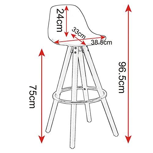 WOLTU® BH45ws-2 2 x Barhocker 2er Set Barstuhl aus Kunststoff Holzgestell mit Lehne + Fußstütze Design Stuhl Küchenstuhl optimal Komfort Weiss