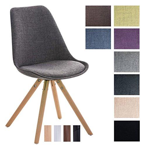 CLP Design Stuhl PEGLEG mit Stoffbezug | Gepolsterter Schalenstuhl mit Holzbeinen und einer Sitzhöhe 46 cm Hellgrau, Holzgestell natura