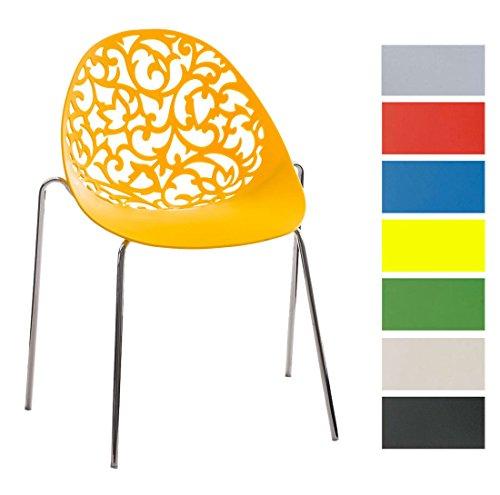 CLP Design Retro Stapelstuhl FAITH aus Kunststoff mit stabilem Metallgestell | Platzsparender Stuhl mit pflegeleichter Sitzfläche und einer Sitzhöhe von 45 cm Gelb