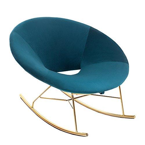 Moderner XXL Design Schaukelstuhl FLOATING lagoon blau Samt Gold Relaxsessel Sessel Stuhl Wohnzimmersessel