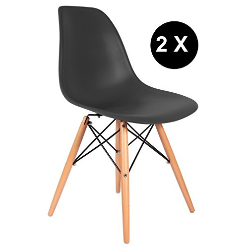 Promo Lot de 2x Stuhl Design Inspiration DSW Füße helles Holz Sitzfläche PP–mobistyl® mobi-dswl2 Modern schwarz