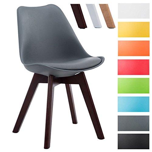 CLP Design Retro-Stuhl BORNEO V2 mit Kunstlederbezug und hochwertiger Polsterung | Lehnstuhl mit Holzgestell | Besonders pflegeleichter und strapazierfähiger Stuhl in verschiedenen Farben erhältlich Grau, Gestellfarbe: walnuss