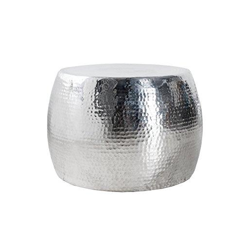 Design Couchtisch ORIENT 60cm hochwertige Nickel-Aluminiummetall Legierung silberfarbig Hammerschlag Optik