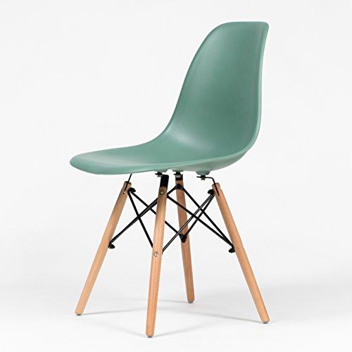 fusionwell Möbel Iconic Eames inspiriert Eiffelturm Retro DSW Esszimmerstuhl Bürostuhl blaugrün
