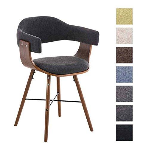 CLP Retro Esszimmer-Stuhl BARRIE V2 Stoff, Holzgestell walnuss, Gastro-Stuhl mit Armlehne, gepolstert, modern Dunkelgrau
