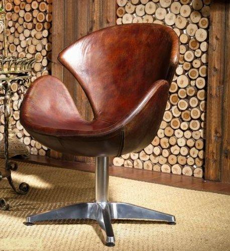 Phoenixarts Vintage Echtleder Sessel Retro Ledersessel Braun Drehsessel Loft Ohrensessel Sessel Lounge Clubsessel Möbel Drehsessel 435