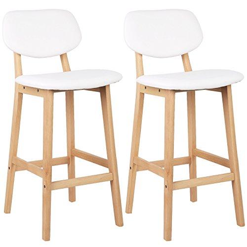 WOLTU BH51ws-2 2 x Barhocker 2er Set Barstühle gut gepolsterte Sitzfläche und Rücklehne aus Kunstleder Design Stuhl Holz Weiß