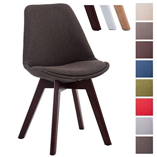 CLP Design Retro-Stuhl BORNEO V2 mit Stoffbezug und hochwertiger Polsterung | Lehnstuhl mit Holzgestell | In verschiedenen Farben erhältlich Dunkelgrau, Gestellfarbe: walnuss