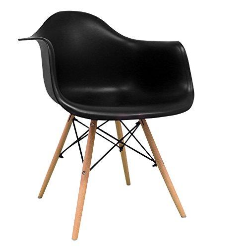 Stuhl STUHL SESSEL Tower Bettbezug Nordic Skandinavien inspiriert Sessel Eames DAW–Cala–(wählen Sie Ihre Farbe) Schwarz