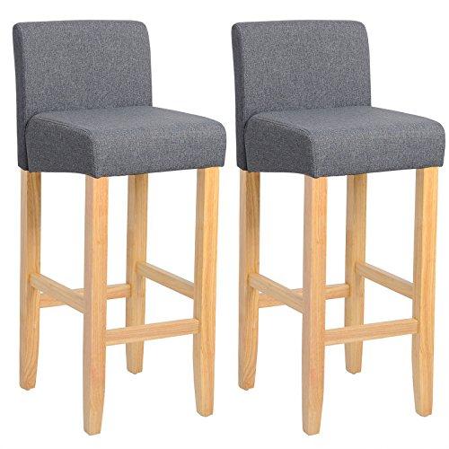 WOLTU BH02dgr-2 Barhocker Bistrostuhl Holz Leinen Bistrohocker mit Rückenlehne, 2er Set, helle Beine aus Massivholz, Antirutschgummi, dick gepolsterte Sitzfläche aus Leinen, Dunkelgrau