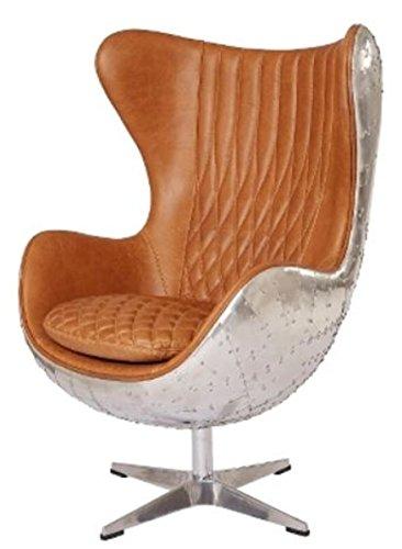 Casa Padrino Echtleder Egg Chair Braun/Silber 87 x 77 x H. 116 cm - Luxus Drehsessel