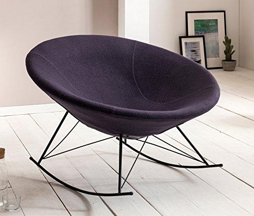 SalesFever® Stilvoller Schaukelstuhl Mona, in Dunkelgrau, Designer-Stuhl mit Stoffbezug, gepolstert, Retro-Look, schalenförmiger Sitz, bequemer Sitzkomfort