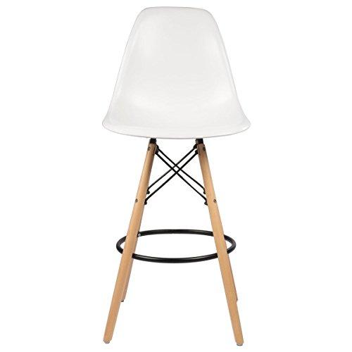 Eames Style Tresenhocker, weiß W/hoch Holz Boden