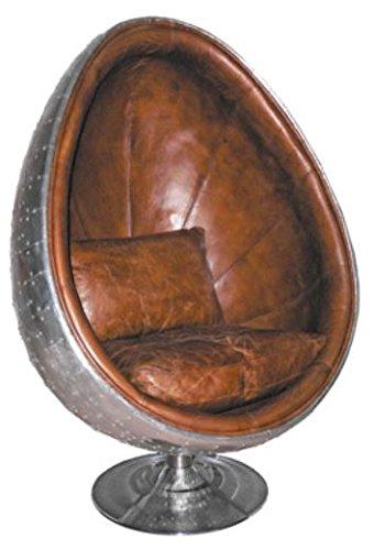 Casa Padrino Echtleder Egg Chair Sessel Silber/Braun 90 x 86 x H. 138 cm - Luxus Drehsessel