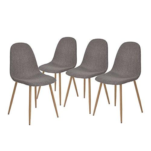 4Stück Stühle skandinavischen grau Esszimmer Stühle Vintage-Küche aus Stoff grau