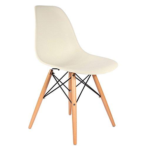 Eames inspiriert DSW Stuhl, weiß, natürliche