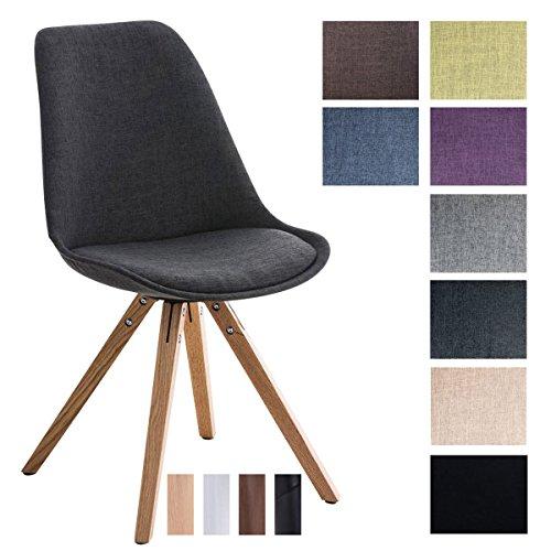 CLP Design Retro-Stuhl PEGLEG SQUARE mit Stoffbezug | Gepolsterter Schalenstuhl mit Holzbeinen und einer Sitzhöhe von: 46 cm | In verschiedenen Farben erhältlich Dunkelgrau, Holzgestell Farbe natura, Bein-Form eckig