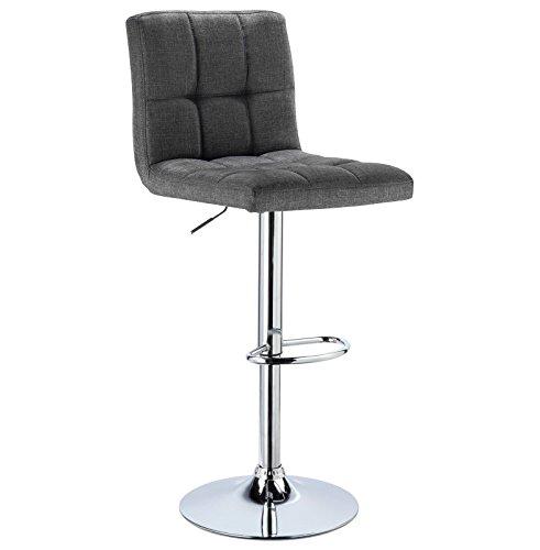 WOLTU 1 x Barhocker Barstuhl Tresenhocker Stuhl drehbar und höhenverstellbar Tresen Hocker Leinen Dunkelgrau BH32dgr-1